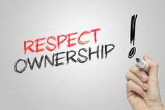Hand writing respect ownership - stock illustration