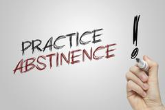 Hand writing practice abstinence - stock illustration