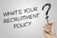 Hand writing what's your recruitment policy Stock Illustration