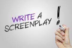 Hand writing write a screenplay - stock illustration