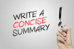 Hand writing write a concise summary - stock illustration