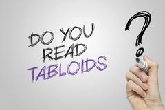 Hand writing do you read tabloids - stock illustration