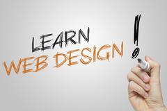 Hand writing learn web design Stock Illustration