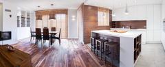 Wooden elegant detached house Stock Photos