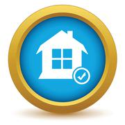 Selected house icon - stock illustration