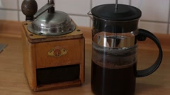 Using French Press to make Coffee Stock Footage