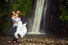 couple travels to Bali - stock photo