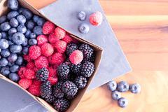 Stock Photo of Box of Fresh Seasonal Autumn Berries