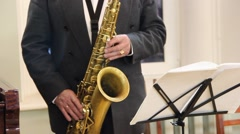Musician playing saxophone Stock Footage