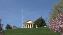 Arlington National Cemetery spring blossoms half staff flag 4K Stock Footage