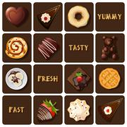 collection of dessert and baked goods - stock illustration