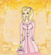 Autumnal fashion girl in a coat in sketch-style illustration. - stock illustration