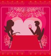 man proposing with an engagement ring to his love in a restaurant  - stock illustration