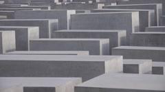 ULTRA HD 4K Closeup Jewish Holocaust Memorial landmark Berlin concrete block day Stock Footage