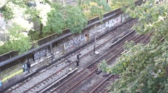 Train Passing By in Brooklyn - With Sound - stock footage