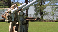 Anti Aircraft Gun of World War 2, GUAM, USA Stock Footage