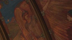 Pull Focus Blur on Angel Art - Very Old Ancient Church Painted Ceiling Stock Footage