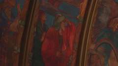 Pull Focus Blur on Wise Man Artwork - Very Old Ancient Church Painted Ceiling Stock Footage