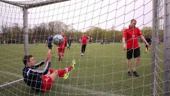 The ball in football goal! Tournament on mini-football. Stock Footage