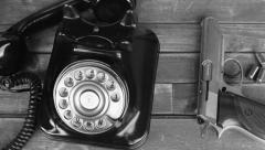 old typewriter & telephone - stock footage