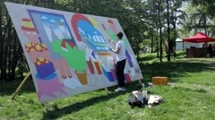 Kiev. Graffiti Artist Paint on Festival 01 - stock footage