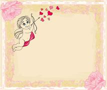 Happy valentines day card with cupids Stock Illustration