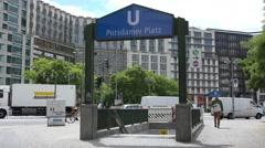 ULTRA HD 4K Metro station Potsdamer Platz traffic street Berlin downtown iconic Stock Footage