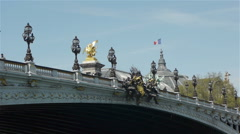Bridge of Alexandre III and Grand Palais. Paris, France Stock Footage