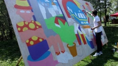 Kiev. Graffiti Artist Paint on Festival 03 - stock footage