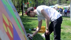 Kiev. Graffiti Artist Paint on Festival 04 - stock footage