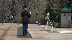 Arlington National Cemetery Guard Tomb Unknown Soldier part 1 4K Stock Footage