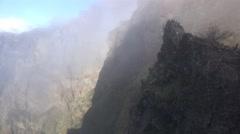 4k Clouds altitude mountain tilt Pico do Arieiro Madeira Stock Footage