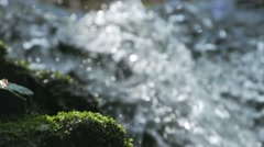 Mountain waterfall splashing small drops spectacular slow motion Stock Footage