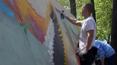 Kiev. Graffiti Artist Paint on Festival 10 - stock footage