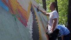 Kiev. Graffiti Artist Paint on Festival 10 - stock footage