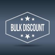 bulk discount hexagonal white vintage retro style label - stock illustration