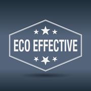 eco effective hexagonal white vintage retro style label - stock illustration