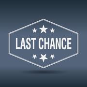 last chance hexagonal white vintage retro style label - stock illustration
