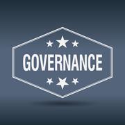 governance hexagonal white vintage retro style label - stock illustration