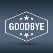 goodbye hexagonal white vintage retro style label - stock illustration