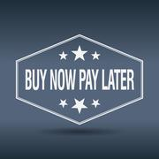 buy now pay later hexagonal white vintage retro style label - stock illustration