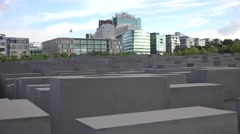 ULTRA HD 4K Holocaust Memorial Berlin financial district modern skyscraper icon Stock Footage