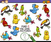 find same picture game cartoon - stock illustration