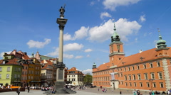 Time lapse - Castle Square, Old Town, Warsaw, Poland Stock Footage