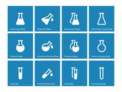 Test tube and flask icons on blue background - stock illustration