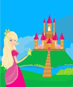 Stock Illustration of Beautiful young princess holding a big green frog