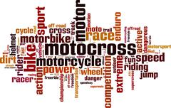 Motocross word cloud - stock illustration