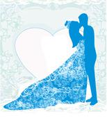 wedding dancing couple background - stock illustration