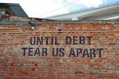 Stock Photo of Debt will tear us apart