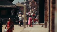 The Taumadhi Square in Bhaktapur, Nepal Stock Footage